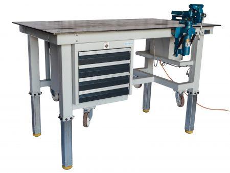Höhenverstellbare und fahrbare Werkbank mit Schubladen für Industrie und Werkstatt